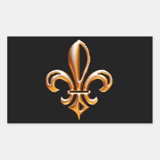 Flor de lis dourada francesa adesivo em forma retangular