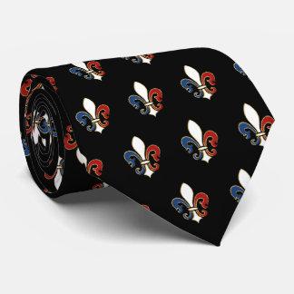 Flor de lis em branco e azul vermelhos gravata