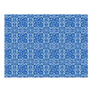 Flor de lis medieval do damasco, azul cobalto cartão postal