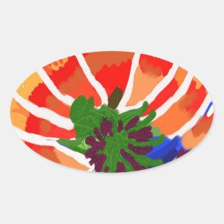 Flor de LOTUS - abstrato artístico Adesivos Em Formato Ovais