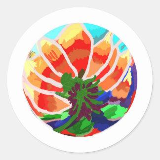 Flor de LOTUS - abstrato artístico Adesivos Redondos