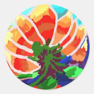 Flor de LOTUS - abstrato artístico Adesivos Em Formato Redondos