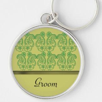 Flor de Paisley (verde) Chaveiros