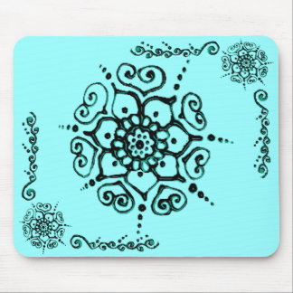 Flor do amor (Henna) (turquesa) Mouse Pad