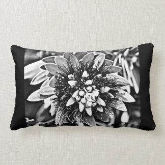 Flor do cacto em preto e branco almofada lombar