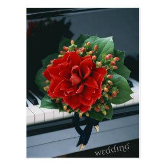 Flor do casamento & cartão do piano cartoes postais