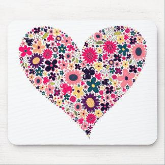 Flor do coração mouse pad
