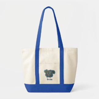 Flor do rosa do azul, sacolas Wedding Bolsa Tote