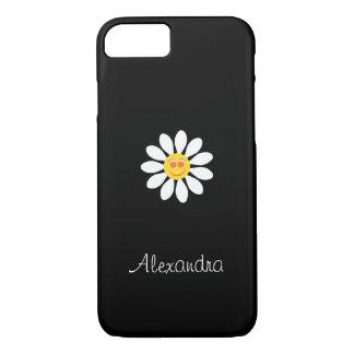Flor feminino da margarida branca da cara feliz capa iPhone 8/7