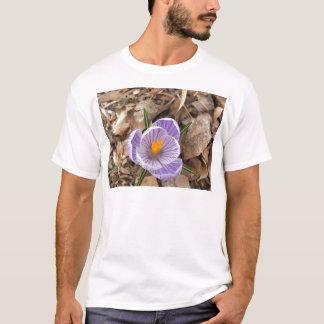 Flor listrada roxa do açafrão tshirt