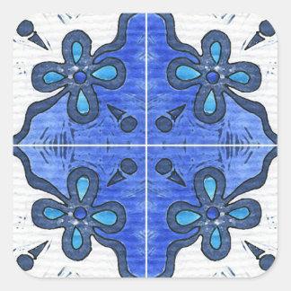 Flor no azul inspirado pelo português Azulejos Adesivo Quadrado