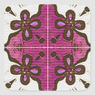 Flor no rosa inspirado pelo português Azulejos Adesivo Quadrado