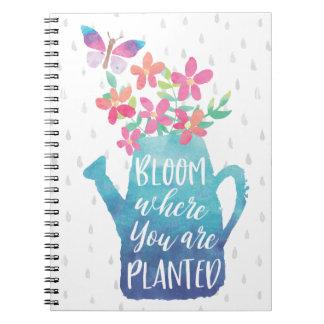 Flor onde você é plantado cadernos
