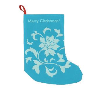 Flor oriental - Feliz Natal - azul Bota De Natal Pequena