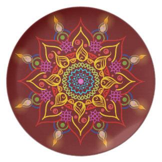 Flor Rangoli de Diwali com lâmpadas de óleo Prato De Festa