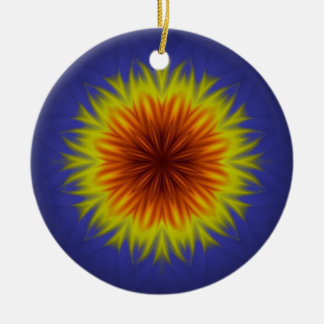 Flor real de Sun Ornamento De Cerâmica Redondo