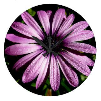 Flor roxa do áster do pulso de disparo de parede relógios para paredes