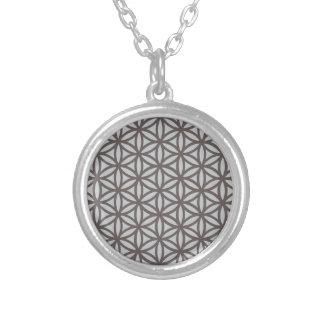 Flor sagrado da geometria da vida colar banhado a prata