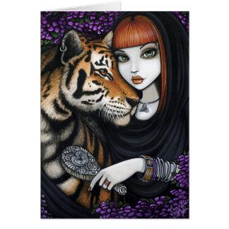 Flor Sam Lilah da fantasia das almas gémeas de Fae Cartão Comemorativo