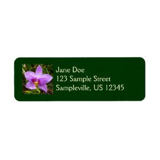 Flor tropical roxa da orquídea selvagem etiqueta endereço de retorno