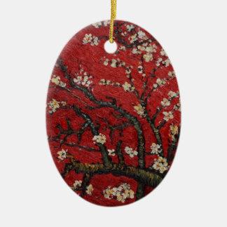 Flor Vincent van Gogh da amêndoa Ornamento De Cerâmica Oval