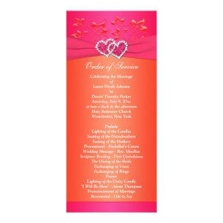 Florais alaranjado cor-de-rosa, corações que 10.16 x 22.86cm panfleto
