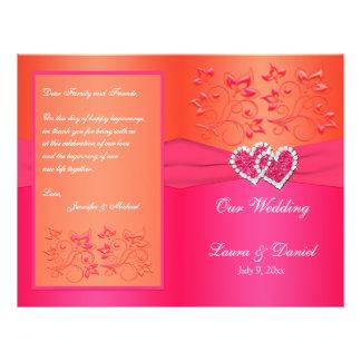 Florais alaranjado cor-de-rosa, corações que flyer 21.59 x 27.94cm