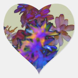 Floral abstrato adesivo coração