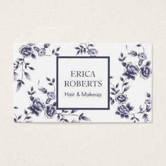 Floral azul & branco da porcelana do vintage do cartão de visitas