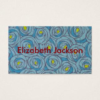 Floral azul cartão de visitas