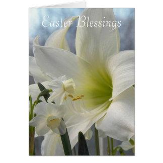 Floral branco das bênçãos da páscoa cartão comemorativo