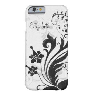 Floral branco preto personalizado capa barely there para iPhone 6