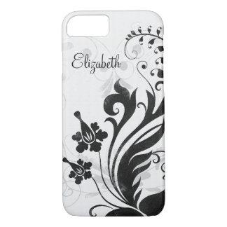 Floral branco preto personalizado capa iPhone 7