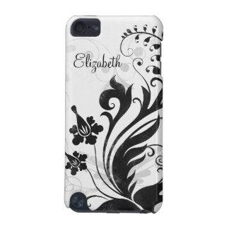 Floral branco preto personalizado capa para iPod touch 5G