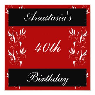 Floral branco preto vermelho do aniversário do convites personalizado