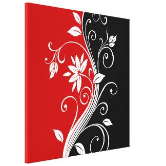 Floral branco & preto vermelho impressão em tela