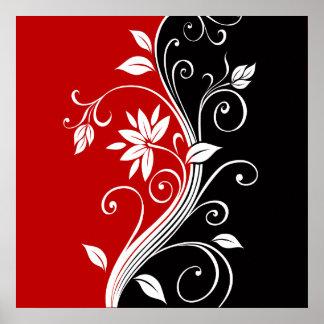 Floral branco & preto vermelho pôster