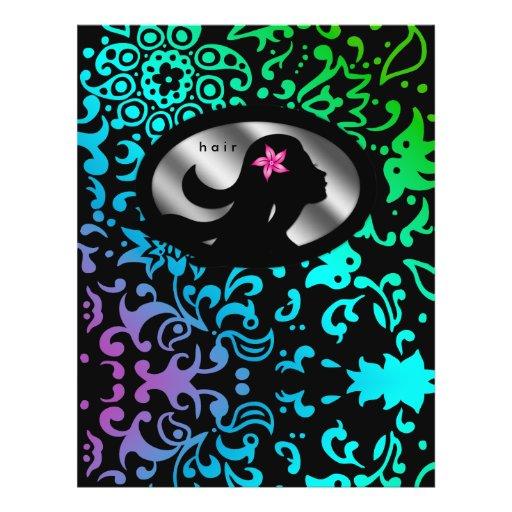 Floral colorido da silhueta da mulher do cabeleire panfletos