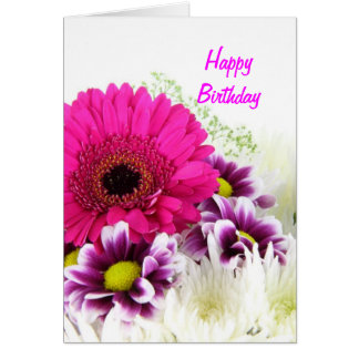 Floral cor-de-rosa cartão comemorativo