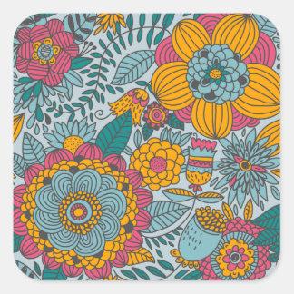 Floral corajoso e videiras adesivos quadrados