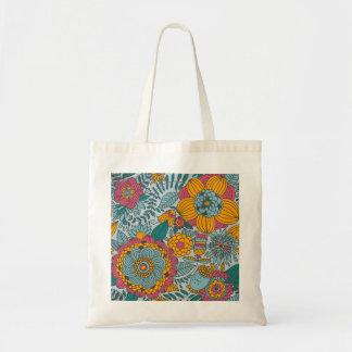 Floral corajoso e videiras bolsa para compras