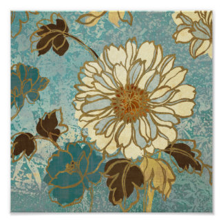Floral decorativo em azul e em branco poster
