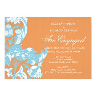 Floral escuro & elegante elegante - laranja convite 12.7 x 17.78cm