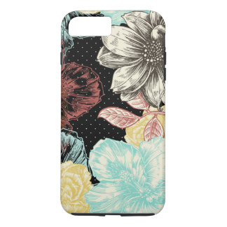 Floral gravado corajoso capa iPhone 8 plus/7 plus
