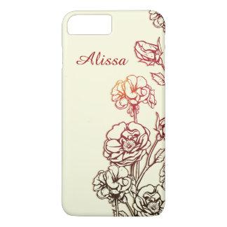 Floral gravado elegante personalizado capa iPhone 8 plus/7 plus