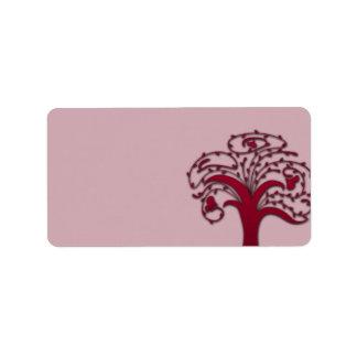 Floral marrom bonito na textura cor-de-rosa etiqueta de endereço