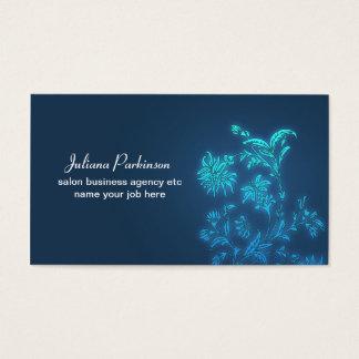 Floral moderno elegante azul cartão de visitas