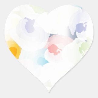 Floral Pastel abstrato Adesivo Coração