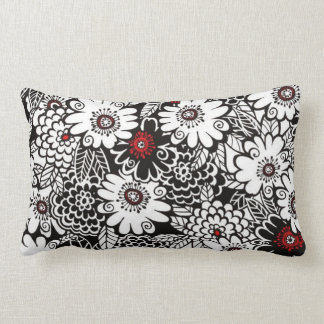 Floral preto/branco/vermelho travesseiros