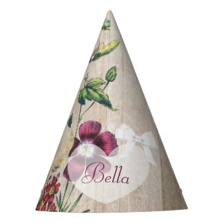 Floral roxo de madeira rústico do chapéu da festa